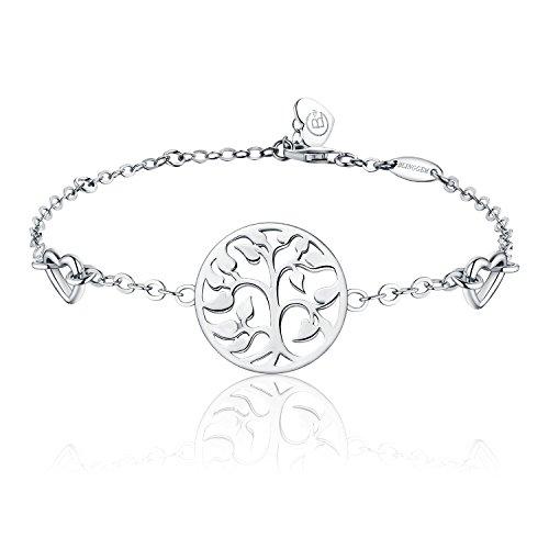 BlingGem Lebensbaum Armband 925 Sterling Silber Weißes Gold überzogen Verstellbare Kette Armband Damen Schmuck Geschenk für Damen (Gold Armband Kette)