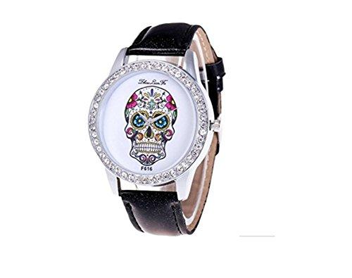 Espritshopping® Montre pour Femme Tête de Mort Mexicaine Calavara Quartz La muerta avec Strass Bracelet SImili Cuir Noire