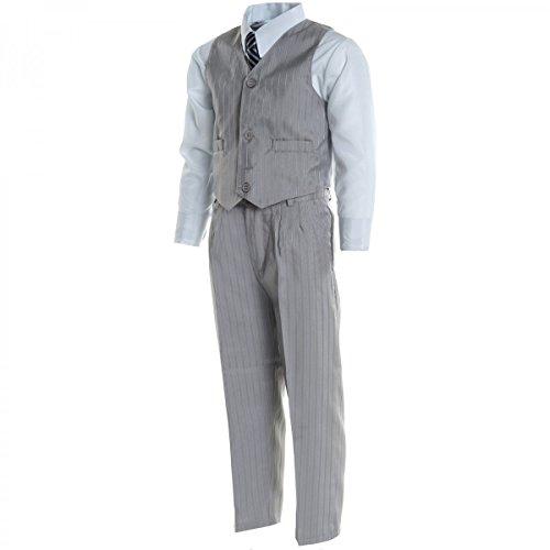 Jungen Kinder Kommunion Hosen Fest Anzug Smoking Taufe Hochzeit Anzug 5Tlg 20497, Farbe:Grau;Größe:116
