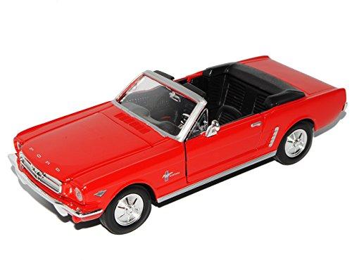 ford-mustang-1964-1-2-cabrio-rot-1-24-motormax-modell-auto-mit-individiuellem-wunschkennzeichen