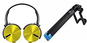 MIRZA Extra Bass Headphones with Mic & Selfie Stick for MICROMAX CANVAS ELANZA. (Sony / HeadPhone/ XB 450 AP/ Selfie Stick)
