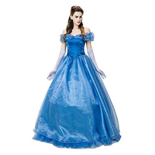 ult Snow White Rock Cinderella Masquerade Ball Auftritt Abendkleid Kostüm (einschließlich Handschuhe + Rock + Rock Unterstützung),Blue,XL ()