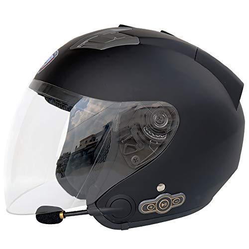 Leaf&Y Offener Motorrad Bluetooth Halbhelm, Motorrad Roller Jet Modular Crash Helm, Bobber Chopper Cruiser Smart Helm für Vier Jahreszeiten,Black,XXL (Motorrad Cruiser Modulare Helm)
