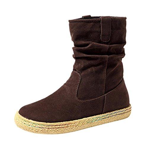 Women Martin Boots Shoes, SOMESUN Delle Donne Delle Signore Femminile Pelle Scamosciata Motociclista Caviglia Trim Piatto Caviglia Caldi Scarpe Martin Stivali Brown