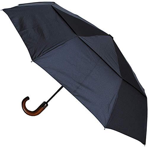 Collar and cuffs london - 9 bacchette 80 km/h - robusto e antivento - struttura rinforzata con fibra di vetro - ventilato doppio calotta - ombrello automatico apri e chiudi- manico in legno - nero