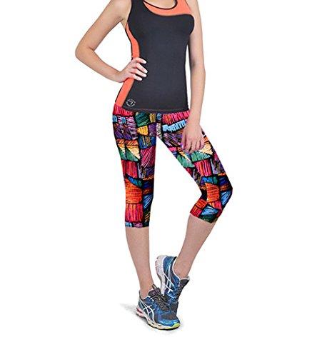 Ultra moderne pour femme tartan Active Sport Capri pour Femme Drap-housse élastique taille haute pour femme Fitness Yoga Sport court pantalon stretch pour femme jaune