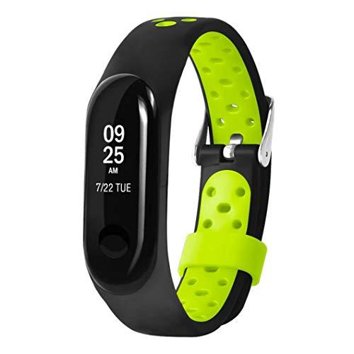 JiaMeng Correas para Xiaomi Mi Band 3 de Pulsera de Repuesto de Silicona Suave Reemplazo Ventilador Sport Soft Muñequera Correa Muñequera(Verde,tamaño Libre)