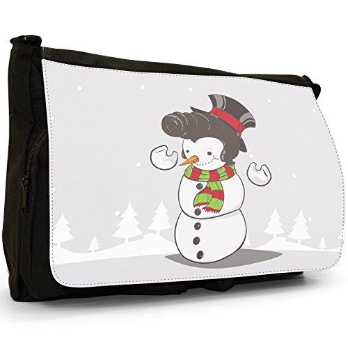 Renne di Babbo Natale Fun & Frolics–Borsa Tracolla Tela Nera Grande Scuola/Borsa Per Laptop Elvis Hair Snowman Smiling