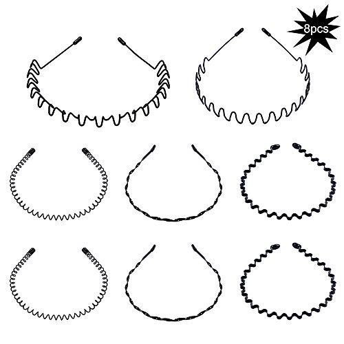 8 pezzi Cerchio Cerchietti e fasce per capelli per uomo e donna a onde, cinturino in metallo per capelli ondulati unisex (nero)