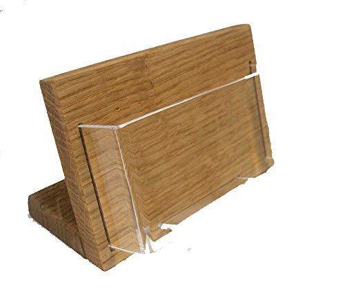 LINLAY Intarsien & Gravuren Visitenkartenhalter aus Holz (Querformat) Prospekthalter Tischmodell massiv Eiche mit Acryleinsatz