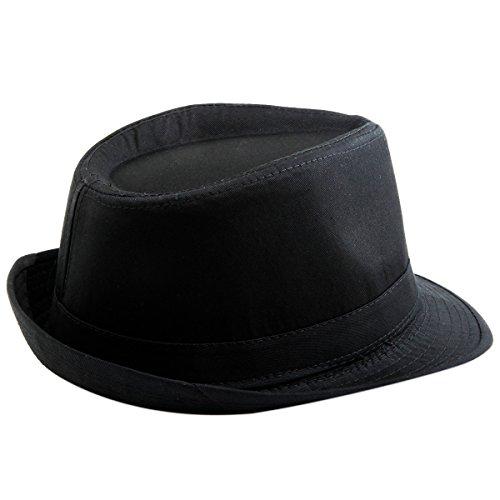 Shanxing Unisexe Chapeau Fedora Trilby Panama Eté Plage Casquette pour Homme Femme Style 2-Noir
