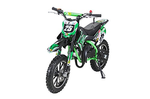 Actionbikes Motors Kinder Mini Crossbike Gepard 49 cc 2-takt inklusive Tuning Kupplung 15mm Vergaser Easy Pull Start verstärkte Gabel Dirt Bike Dirtbike Pocket Cross (Grün)