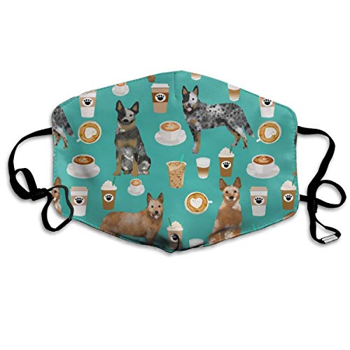 Australian Cattle Dog Blue And Red Heelers And Coffees - Turquoise Anti Dust Mask Anti Pollution Washable Reusable Mouth Masks Spider Eye Mask