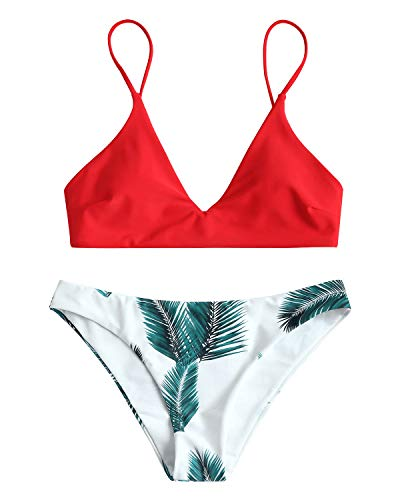 ZAFUL Damen Gepolsterter Bikini Set Bademode Badeanzug mit Blatt Pattern Zweiteilig Rot Small