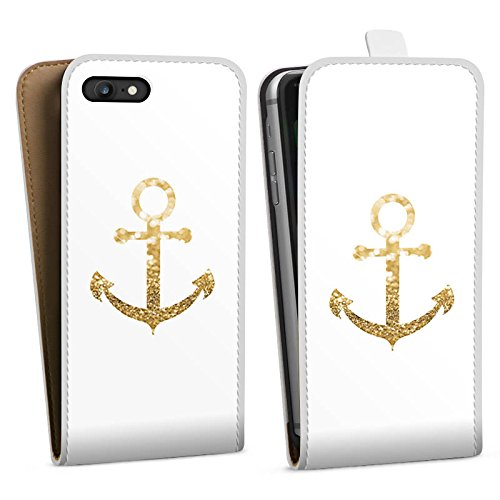 Apple iPhone 7 Hülle Case Handyhülle Anker Gold Sommer Downflip Tasche weiß