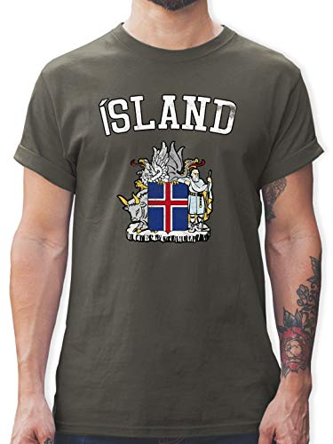 Fußball-Europameisterschaft 2020 - Island Wappen WM - 3XL - Dunkelgrau - L190 - Tshirt Herren und Männer T-Shirts