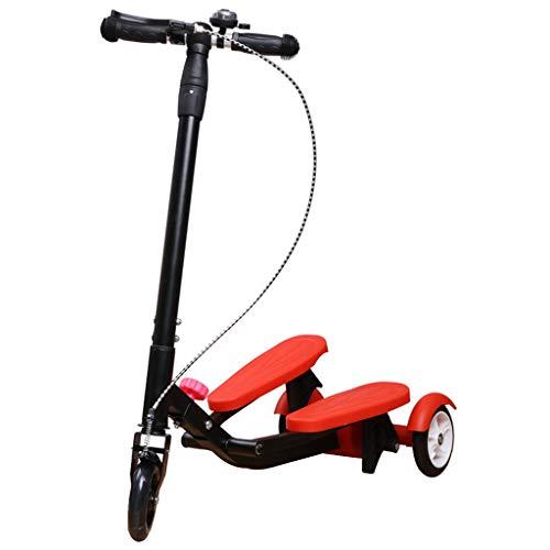 HYE-ROLLER Scooter Kids Pedaling Stepper Scooter Faltbare 3 höhenverstellbar Bike Boys und Mädchen im Alter von 3-15 - Durch bewegliches im Freien Spielzeug - Bis zu 220 Pfund (rot)