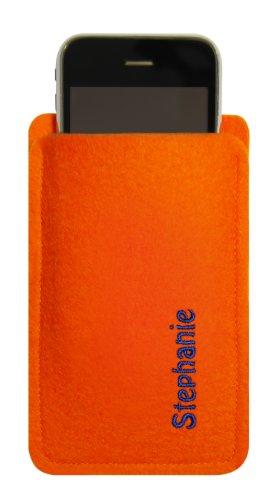 Custodia in feltro per iPhone 4/S, 3, Arancione, con nome ricamato–nome o richiesta concetto–Info sotto la descrizione del prodotto. Stickfarbe lila Stickfarbe royal