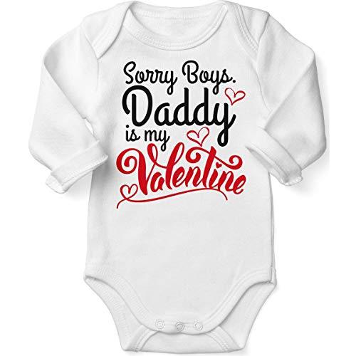 Mikalino Babybody mit Spruch für Jungen Mädchen Unisex Langarm Sorry Boys - Daddy is My Valentine | handbedruckt in Deutschland | Handmade with Love, Farbe:Weiss, Grösse:74