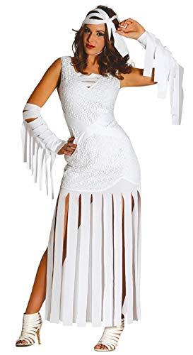 Fancy Me Damen Sexy Lang ägyptisch Mumie Halloween Kostüm Kleid Outfit UK 10-16 - Weiß, - Eine Ägyptische Mumie Kostüm