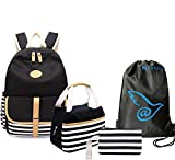 4 Teile Set Causal Rucksack Freizeitrucksack Daypacks Backpack, Rucksack Schule/Schulranzen +Schultertasche /Messenger Bag +Geldbeutel Mäppchen + Leinwand Kordelzug Turnbeutel (schwarz)