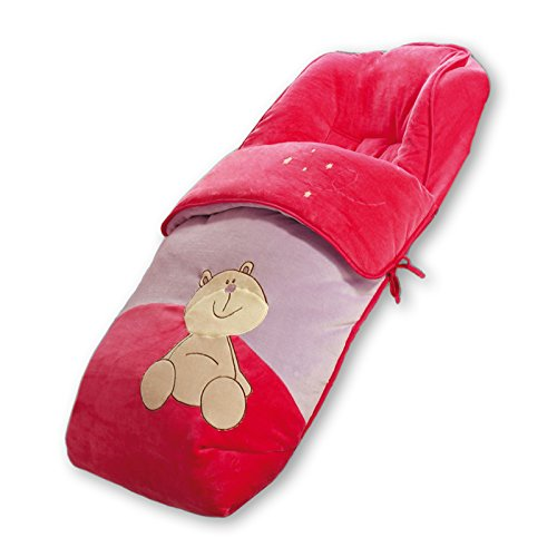 Saco para silla de bebe universal. Fantasía bordado OSITA. Muy Suave, cálido y confortable. Piel de melocotón.