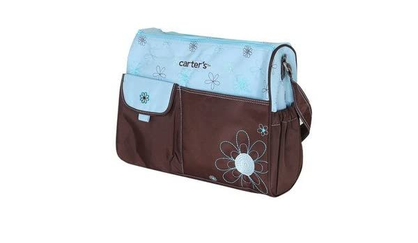 9a5923956e233 Brown Bag with Flower embroidery Baby Nappy Changing Bags with Accessories  (3pcs Large Bag Blue): Amazon.co.uk: Baby