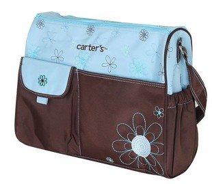 Braune Tasche mit Blumen-Stickerei, Baby-Wickeltaschen mit Zubehör