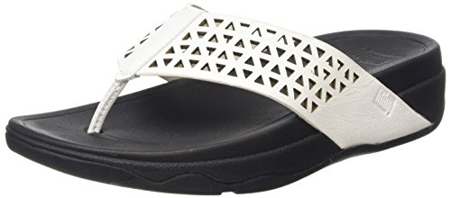 Fitflop Leather Lattice Surfa Tm Infradito Bianco (White (Urban White 194))