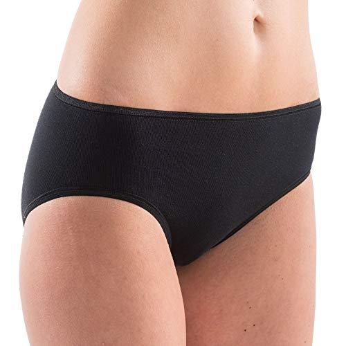 HERMKO 5031 6er Sparpack Damen Midi-Slip Baumwolle/Elastan, Farbe:schwarz, Größe:44/46 (L)