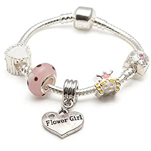 Liberty Charms Childrens Kids 'Little Princess' Flower Girl Silver Plated Charm Bead Bracelet. With Gift Box & Velvet Pouch 17cm(Other sizes available)