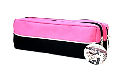 Arpan X-Large size Double Zip Fabric Pencil Case - Ideal For School/College/Uni.- Make Up