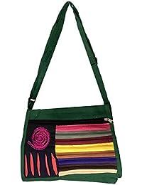 Shubhangi Women's Handbag (Jaipuri Embridered Handicraft Traditional Sling Handbag, Zipper Bag,Green Color,STYLISH...