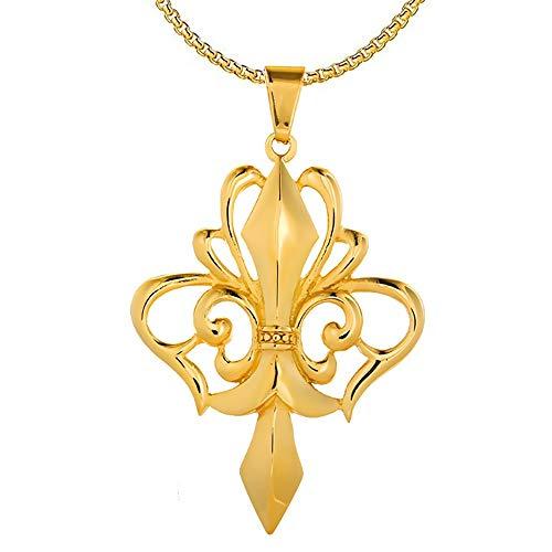 BOBIJOO Jewelry - Großer Anhänger Halskette Kreuz Fleur-de-LYS Royal-Stahl-Silber Plated+Kette - Gold Edelstahl