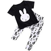 towear Bambino Bambina Cotone Coniglio Stampa T shirt Pants 2pcs vestiti Set