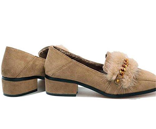 Chaussures Pour Femmes Bout Carré Pointe En Métal Mocassins Plats Doublure En Fourrure Taille 35to43 Kaki