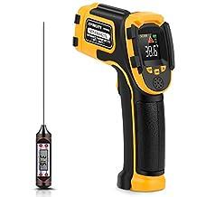 Infrarood-thermometer, digitale laser, contactloos, -50 °C ~ 600 °C, instelbare emissie, temperatuursensor voor koken/BBQ Freezer, vleesthermometer inclusief