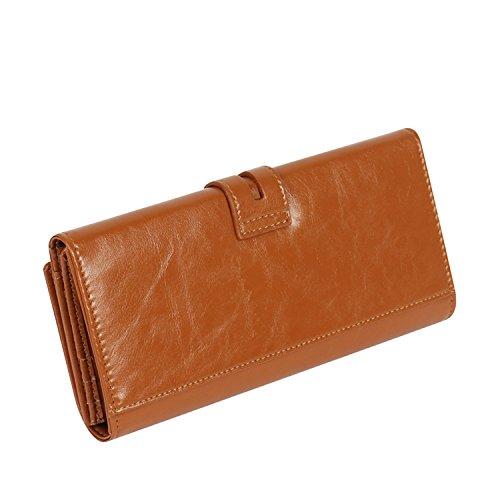 FYJS Da donna Vero Pelle Frizione borsetta Grande Spazio Borsa Credito Carta I soldi Foto Wallet - Regalo boxed (Marrone chiaro) Apricot
