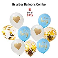 Party Propz Baby Shower Latest high Quality Balloons -9 Pcs Balloons for Baby Shower Decoration / its a boy Balloons