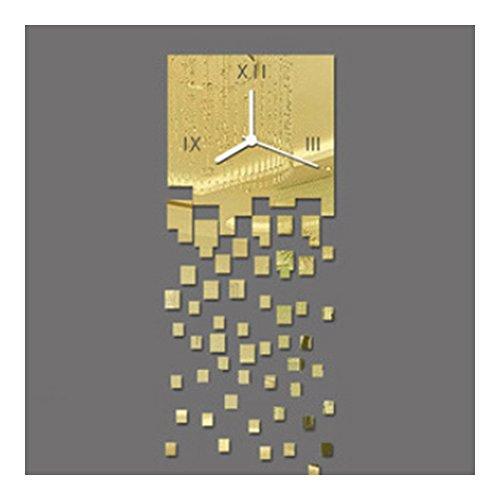 DIY Specchi Orologi da Parete Oro Piazza Personalizzati Sveglia da Parete Casa Moderni da Muro Grandi Dimensioni Orologio Murale