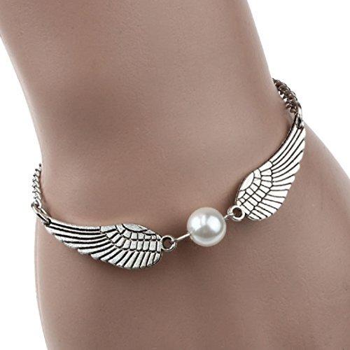 Ularmo® Damen Armband Silber Retro Bracelet mit Perle und Flügel