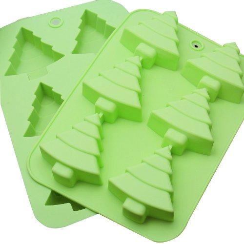 BestCool 6er Grün Green Mulden Silikon Muffinform Muffin Form Tannenbäumen Muffinförmchen Kuchen Weihnachten Dessert Cup Cake Pudding Gelee Mini-Cupcake Formenset Kuchenformen Cupcake Form Backform