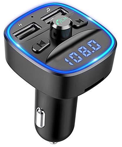 Cocoda Bluetooth FM Transmitter für Auto, Blaue Umgebende Leuchte Drahtloser Radio Kfz-Empfänger Adapter mit Freisprecheinrichtung, Dual USB Ladegerät 5V/2,4A und 5V/1A, SD-Karte, USB-Disk