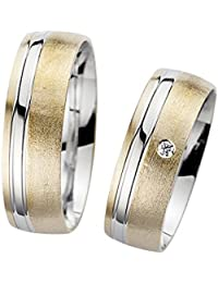 02893bed1f1f Trau anillos de color blanco amarillo Oro 1 Par eismattiert Pulido con un  wunderschönenen brillantes