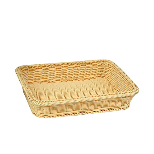 colinsa 4Farben Nachahmung Rattan Material handgeflochtenem Korb Früchte, Brot Supermarkt Aufbewahrungskorb Korb beige (Beige Körbe 4)