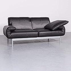 Rolf Benz Plura Designer Leder Sofa Schwarz Dreisitzer Funktion #7128