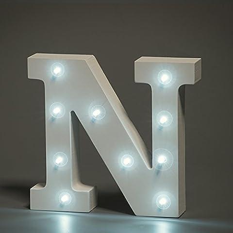 Luces de Madera, VSOAIR Decorativo en las Luces Letra del Alfabeto de Madera MDF Blanco, con Luces LED con Pilas, Carta (N)
