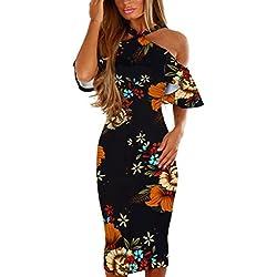 Vestidos de Mujer, ASHOP Vestido Verano 2018 Sin Mangas Casual Ajustados T-Shirt Vestido Coctel Fiesta Largo Dress Estampado Floral Boho Playa Falda Elegantes en Oferta (XL, Negro)