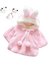 Enfant Bébé Fille 3D Oreilles de Lapin Capuchon Doux Chaud en Coton Veste d'Hiver Épais avec Dande Manteau à Chapeau pour Nouveau-né