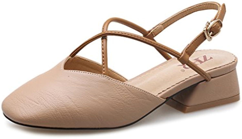 WANGXIAOLIN Verano Nuevo Estilo Zapatos De Tacón Sandalias Romanas Con Gruesas ( Color : Marrón claro , Tamaño...